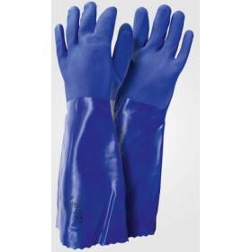 Γάντια ελαστικά PVC μπλέ με άγρια υφή στην παλάμη 45 εκ.