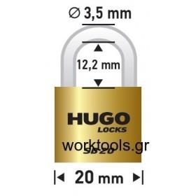 Λουκέτο με βάση 20χιλ από ορείχαλκο HUGO LOCKS