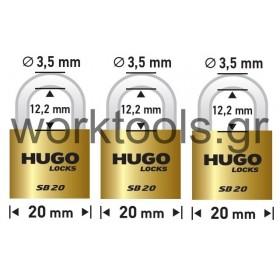 Σετ 3 λουκέτα με βάση 20χιλ με ίδιο κλειδί HUGO LOCKS