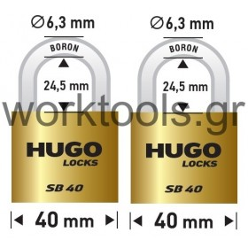 Σετ 2 λουκέτα με βάση 40χιλ με ίδιο κλειδί HUGO LOCKS
