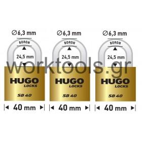 Σετ 3 λουκέτα με βάση 40χιλ με ίδιο κλειδί HUGO LOCKS