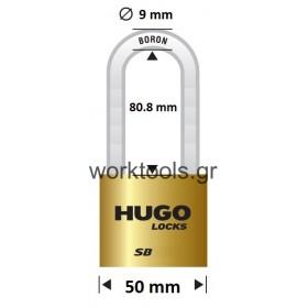 Λουκέτο με βάση 50χιλ μακρύλαιμο από ορείχαλκο HUGO LOCKS