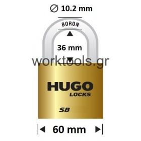 Λουκέτο με βάση 60χιλ από ορείχαλκο HUGO LOCKS